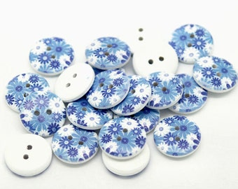 10 Painted Wood Buttons Floral Shades of Blues 18mm BUT301