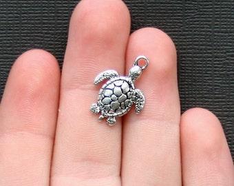 8 Turtle Charms Antique  Silver Tone - SC2295