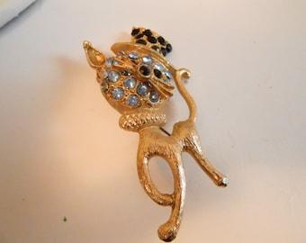 Vintage brooch, cat brooch, Cat with top hat brooch, retro 1950s figural brooch, crystal brooch, statement brooch, vintage jewelry