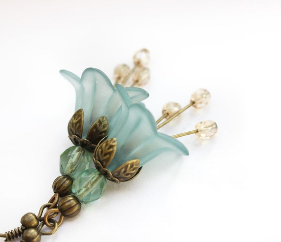 Aqua Flower Earrings Light Teal aqua lucite earrings Glass Bead pastel spring jewelry,something blue Wedding bridal jewellery
