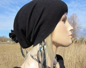 Womens Black Slouchy Beanie Hat Cotton Slouch Beret Leather Tie Hipster Style A913