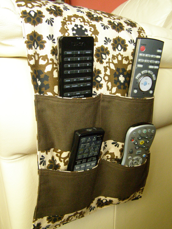 Organizer Caddy Tv Remote Control Holder 4 Pocket Brown Print