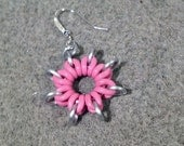 Pink Rubber and White Chainmaille Star Earrings