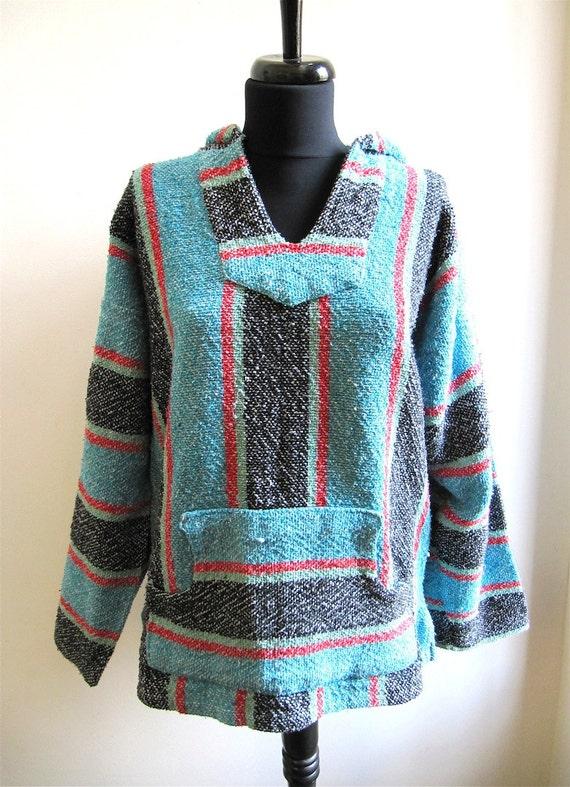 Blue Red Striped Baja Hoodie Sweater by worldvintagefashion