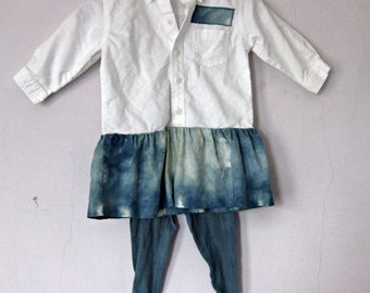 12-18 Months White Dress with Tie Dyed Flounce and Leggings