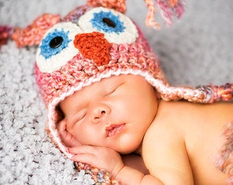 Baby Owl Hat - Baby Hat -  Cute and Soft Earflap - Girl's Newborn Hat -by JoJosBootique