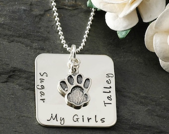 """I love my pet - personalized, hand stamped 1"""" size square necklace"""