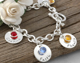 Six disc Personalized name Charm bracelet with birthstones  - Mom or Grandma