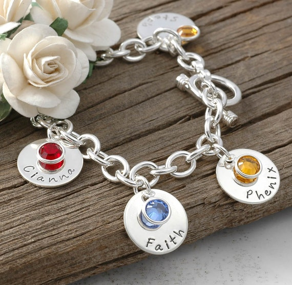 eight disc personalized name charm bracelet with birthstones