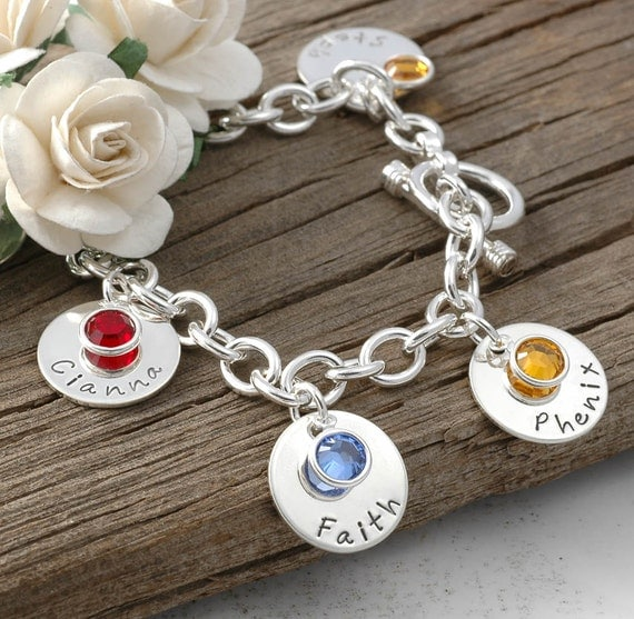six disc personalized name charm bracelet with birthstones
