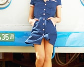 Waitress uniform, retro dress, diner dress, blue dress, waitress dress, diner uniforms - Biantika