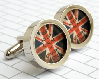 Keep Calm and Carry On Cufflinks on a Vintage Union Jack Background PC560