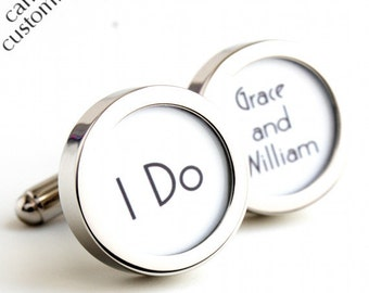 I Do Custom Cufflinks in 1920s Style with the Names of the Bride and Groom PC419