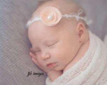 Delicate Baby Halo, Delicate Fabric Flower Open Halo Headband PHOTO PROP