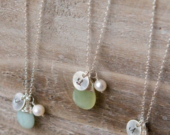 Briolette Initial Necklace Handstamped Sterling Silver - Freshwater Pearl Amazonite Rose Quartz New Jade Crystal