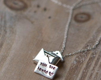 Love Letter Locket Necklace - Sterling Silver Envelope Locket - Personalized Hand Stamped Message - Valentine's Day Gift
