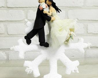Custom Cake Topper -Lovely Couple on the Snow flake-