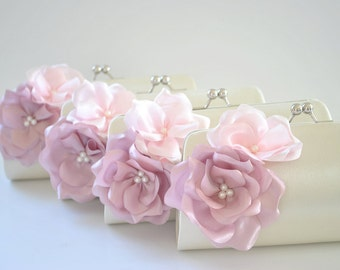 Set of 6  Bridesmaid clutches / Wedding clutches - Custom Color