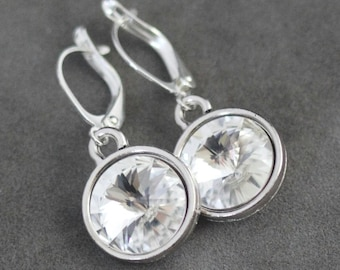 April Birthstone Earrings, Diamond Crystal Jewelry, April Birthday Earrings, Silver Dangles, Clear Crystal Drop Earrings