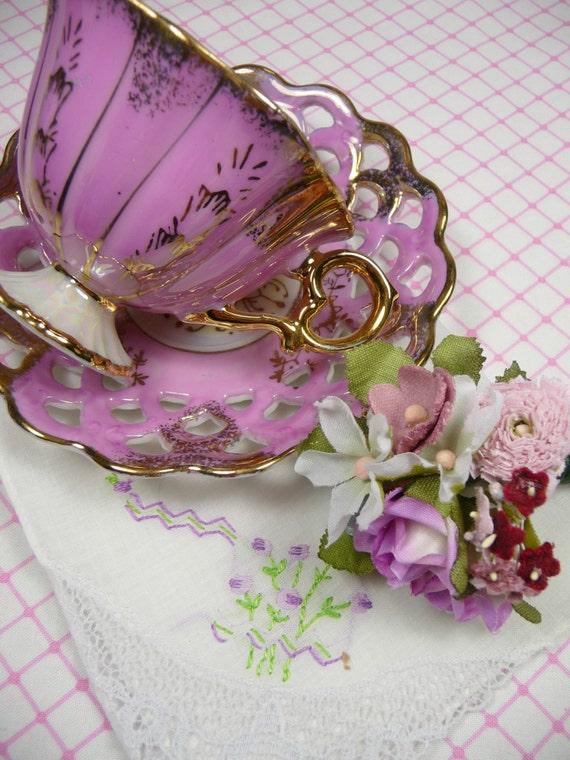 Pink Demitasse Tea Cup Gift Set Lusterware With Hankie And