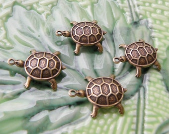 Turtle Charms, Antique Gold, Quality Trinity Brass 14 x 18mm Cute 3-D