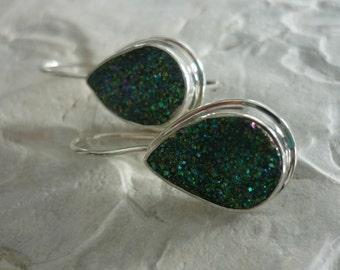 Dangle Sterling Silver Earrings, Drop Silver Earrings, Green Druzy Gemstones Silver Earrings, Druzy Natural Stone Earrings, Dark Green Druzy