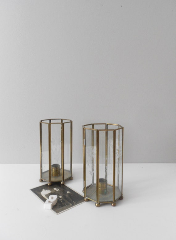 pair of geometric glass candle holder lanterns