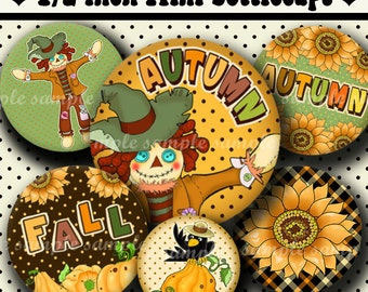 INSTANT DOWNLOAD Happy Fall (580) 4x6 Digital Collage Sheet 1/2 half inch ( 0.5 inch size ) mini bottle cap images resin pendants ..