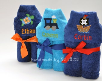Personalized Kids Hooded Bath or Beach Towel, Choose Your Design, Custom Colors