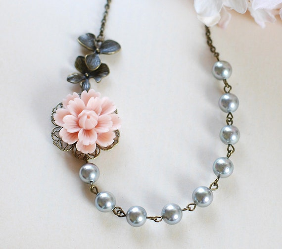 Titanium Grey Pearls Necklace. Pink Flower Antique Brass Orchid Necklace, Bridesmaid Necklace, Grey and Pink Wedding Bridal Necklace