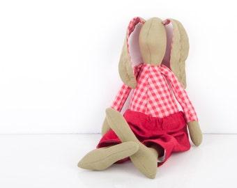 nursery decor -  Stuffed bunny,  olive Khaki Rabbit Wearing Fuchsia red plaid shirt red corduroy - handmade doll