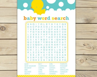 Rubber Ducky Baby Shower Word Search Game - Neutral Baby Shower Games Printable - Instant Download - Aqua Blue Yellow Baby Shower Games