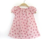 Pink Summer Dress, Baby Girl Bow Print Dress