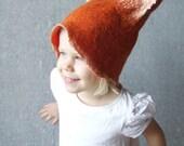 Fox hat for kids baby orange pumpkin wool felted winter children fashion