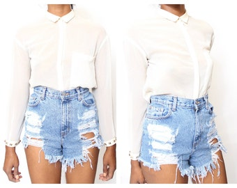 All Sizes Raggedy Ripped Distress  High Waist Sorts Also in Plus Sizes