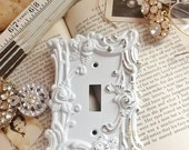 Metal Wall Decor-Light Switch Cover-In White Shabby Chic-Single Switch Cover-Roses-Ornate-Distressed-Spring Flowers-Roses