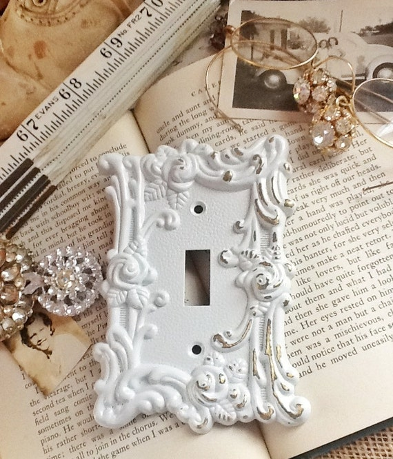 White Metal Wall Decor metal wall decor-light switch cover-in white shabby