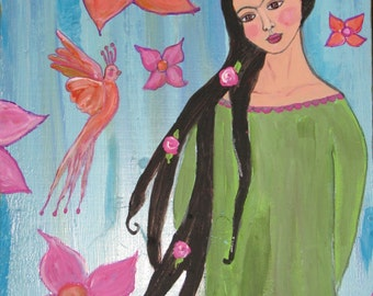 Frida and the Phoenix (Fenix) Mexican folk art style Painting on reclaimed wood orange green pink blue