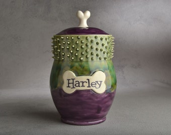 Dog Treat Jar Made To Order Purple Green Spiky Collared Treat Jar by Symmetrical Pottery