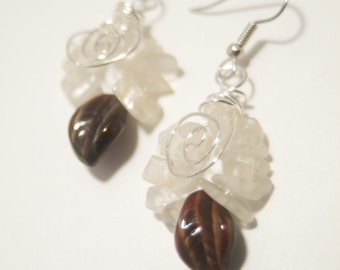 Rainbow Moonstone and Tiger's Eye Glass Leafe Silver Dangle Earrings - The Tiger and The Moon - Art Jewelry by Sarah McTernen
