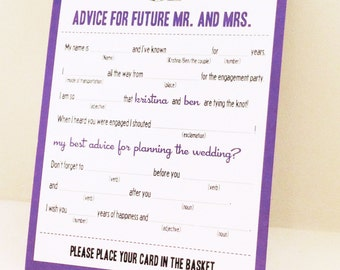 MAD LIBS - ENGAGEMENT party - Mr & Mrs. edition - digital file