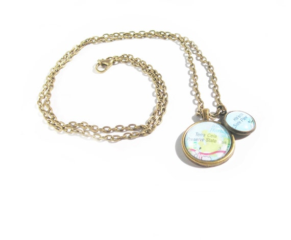 Graduation Gift Custom Map Location Two Charms Necklace