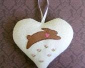 Wool felt heart ornamentt, rabbit ornament, easter ornament, Valentine heart