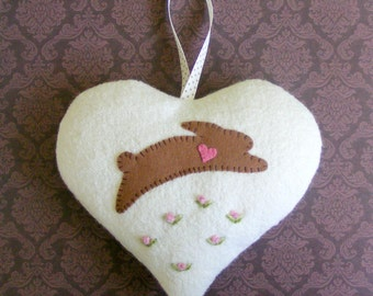 Wool felt heart ornamentt, rabbit ornament, easter ornament, Valentine heart