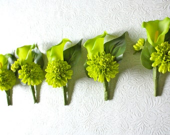 Set of 5 Real Touch Green Calla Lily Boutonniere with Pompom Mums (Lime Green, Chartreuse, for Summer Wedding, Spring Wedding)