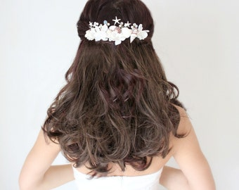 Beach Wedding, Seashell Starfish Pearls Crystals & Flowers Hair Comb, 'By The Sea', wedding accessory, bridal headpiece,