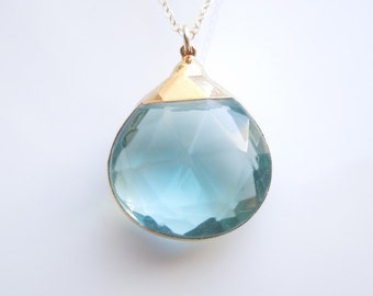 Hydro Quartz Necklace in Clear Blue
