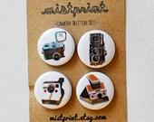 Camera Pinback Buttons- Set of 4