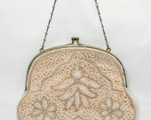 Vintage 1920's Flapper Beaded Ivory and Cream Purse