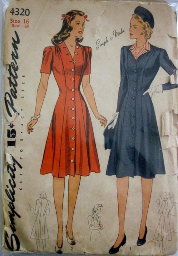 Simplicity 4320 womens shirt waist dress 1940s pattern bust 34